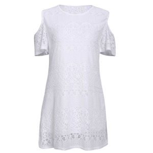 Stylish White Off The Shoulder Lace Women's Dress - White - M