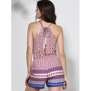 Ethnic Round Neck Backless Print Romper For Women - PURPLE S