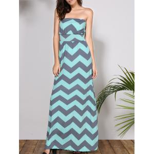 Bohemian Strapless Chevron Maxi Dress - Light Blue - S