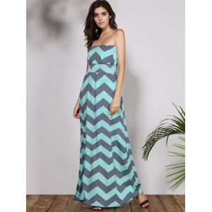 Bohemian Strapless Chevron Maxi Dress - LIGHT BLUE S