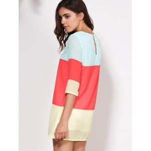 Casual Scoop Collar 3/4 Sleeve Color Block Women's Dress - RED S