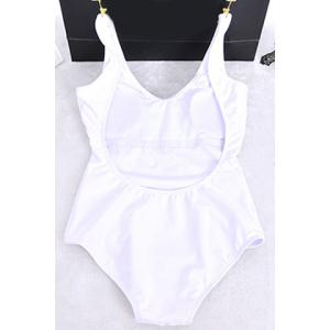 Stylish U Neck Solid Color Backless One-Piece Swimsuit For Women - WHITE M
