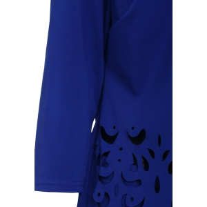 Plus Size Openwork Two Piece Fitted Tight Dress - SAPPHIRE BLUE L