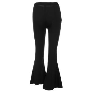 OL Style Solid Color Loose Wide Leg Pants For Women - BLACK XS