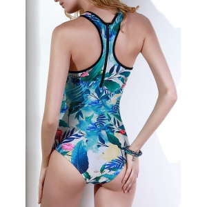 Vintage Plant Print Zippered Racerback Swimsuit For Women -