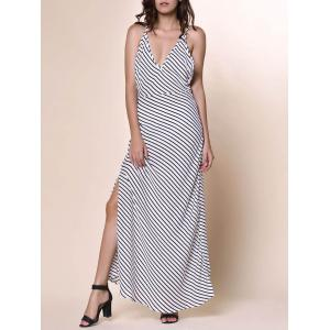 Bohemian Plunging Neckline Striped Backless Dress For Women - White - L