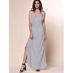 Bohemian Plunging Neckline Striped Backless Dress For Women - WHITE S