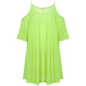 Spaghetti Strap Ruffled Trapeze Club Dress - Neon Green - L