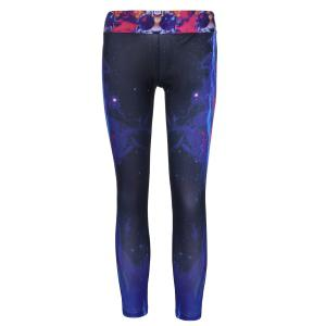 Stylish Elastic Waist Tiger and Galaxy Printed Yoga Pants For Women - Black - One Size(fit Size Xs To M)