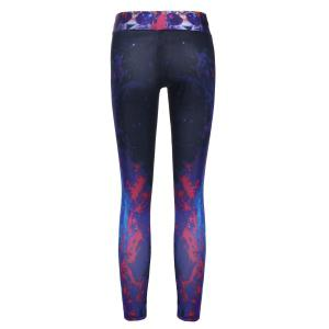 Stylish Elastic Waist Tiger and Galaxy Printed Yoga Pants For Women - BLACK ONE SIZE(FIT SIZE XS TO M)