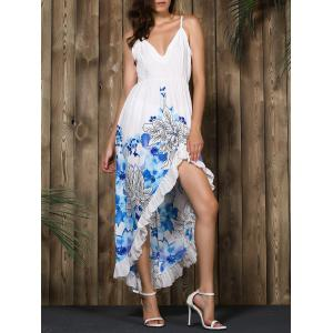 Alluring Spaghetti Strap Floral Print High Low Dress