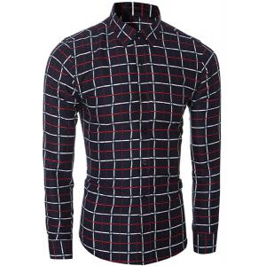 Vogue Shirt Collar Classic Check Pattern Long Sleeves Slim Fit Shirt For Men