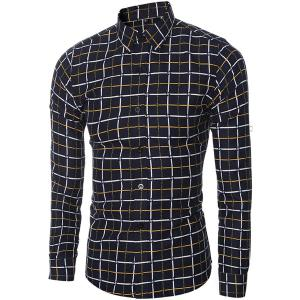 Vogue Shirt Collar Classic Check Pattern Long Sleeves Slim Fit Shirt For Men - YELLOW M