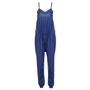 Brief Spaghetti Strap Purplish Blue Sleeveless Jumpsuit For Women - Purplish Blue - L