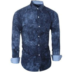 Abstract Tie-dye Patter One Pocket Shirt Collar Long Sleeves Slim Fit Shirt For Men -