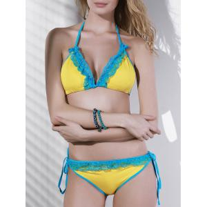 Women's Stylish Flounce Halter Hit Color Bikini Swimwear