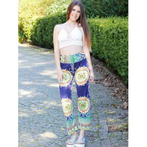 Stylish Mid-Waisted Printed Loose-Fitting Women's Exumas Pants - COLORMIX M