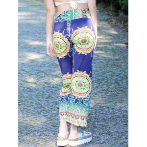 Stylish Mid-Waisted Printed Loose-Fitting Women's Exumas Pants - COLORMIX L