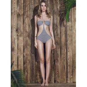 Women's Stylish Halter Striped Hollow Out One Piece Swimwear -