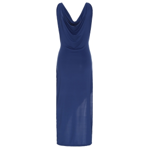 Sexy Spaghetti Strap Solid Color High Slit Sleeveless Dress For Women - CADETBLUE S