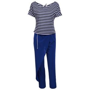 Casual Style Skew Neck Short Sleeve Striped T-Shirt + Drawstring Pants Women's Twinset