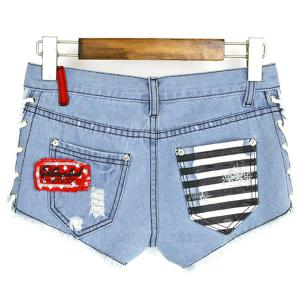Lace Up Pockets Low-Waisted Striped Women's Denim Shorts -