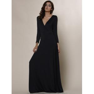 Plus Size Low Cut Prom Dress with Sleeves - BLACK L