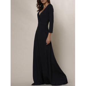 Plus Size Low Cut Prom Dress with Sleeves - Black - Xl