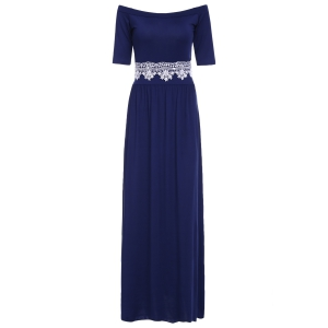 Vintage Off-The-Shoulder Waist Lace Spliced Maxi Dress For Women