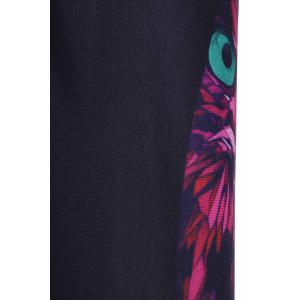Stylish Owl Print Color Block Elastic Stretchy Yoga Pants For Women - COLORMIX ONE SIZE(FIT SIZE XS TO M)