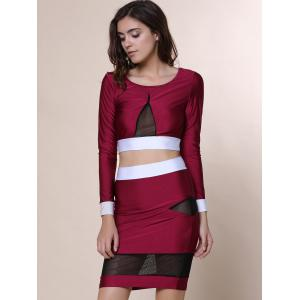 Sexy Scoop Collar Long Sleeve See-Through Crop Top + Spliced Skinny Skirt Women's Twinset -