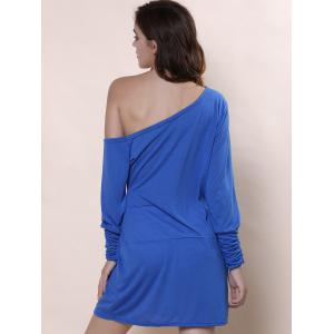 Trendy Scoop Neck Long Sleeve Solid Color Women's T-Shirt - BLUE XL