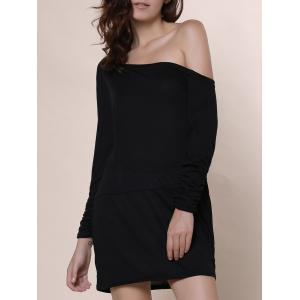 Trendy Scoop Neck Long Sleeve Solid Color Women's T-Shirt - Black - L