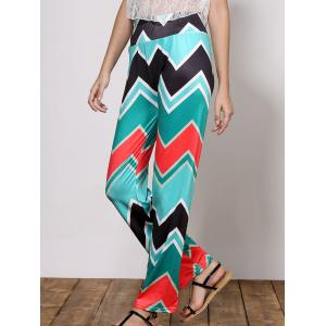 Stylish Mid-Waisted Wave Print Loose-Fitting Women's Exumas Pants - Green - S