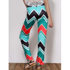 Stylish Mid-Waisted Wave Print Loose-Fitting Women's Exumas Pants - GREEN S