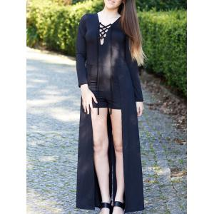 Lace-Up Long Sleeve Slit Romper - Black - M
