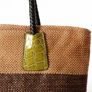 Casual Straw Color Block Beach Bag -