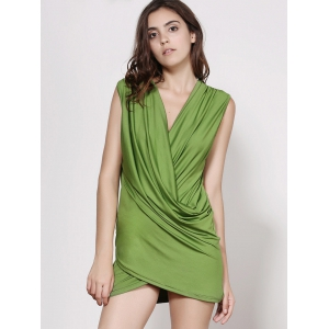 Stunning Plunging Neck Sleeveless Ruffled Solid Color Women's Dress - GREEN M