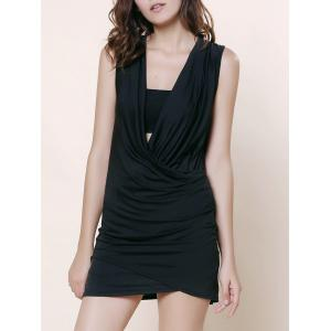 Stunning Plunging Neck Sleeveless Ruffled Solid Color Women's Dress