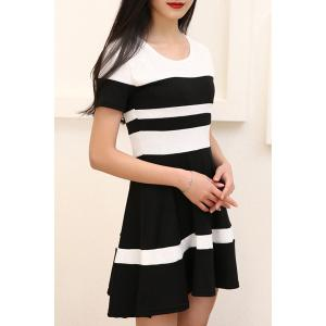 Chic Round Collar Color Block Short Sleeve Dress For Women -