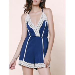 Stylish Spaghetti Strap Sleeveless Spliced Laciness Women's Romper
