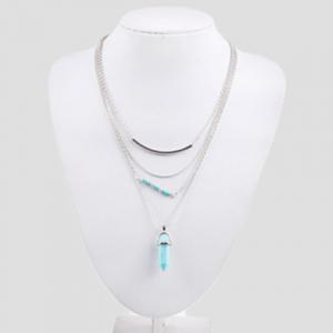 Bohemian Layered Faux Turquoise Necklace - SILVER