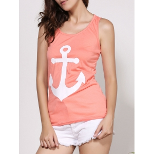 Stylish Scoop Neck Sleeveless Printed Bowknot Embellished Women's Tank Top - ORANGE L