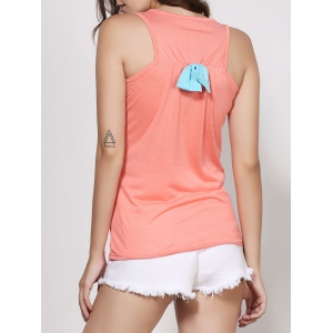 Stylish Scoop Neck Sleeveless Printed Bowknot Embellished Women's Tank Top -