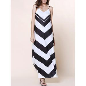 Boho Beach Slip Chevron Maxi Dress for Summer - Black - M