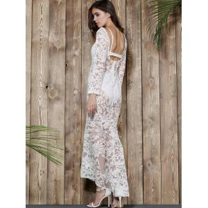 Lace Sheer Long Sleeve Mermaid Prom Backless Dress - WHITE S