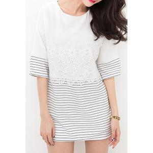 Brief Round Collar Lace Pattern Striped Half Sleeve T-Shirt For Women -