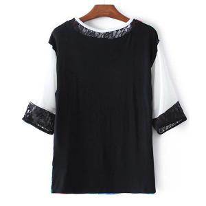 Stylish Jewel Collar Half Sleeve Lace Spliced T-Shirt For Women -
