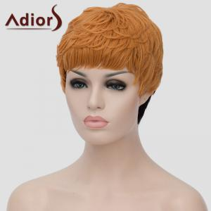 Trendy Short Black Golden Ombre Synthetic Shaggy Straight Adiors Hair Bump Wig For Women - Ombre 1211#