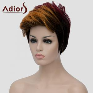 Bouffant Wave Short Capless Stylish Multicolor Highlight Synthetic Adiors Bump Wig For Women -